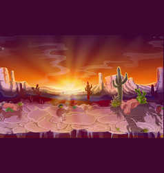 cartoon desert seamless game background vector image