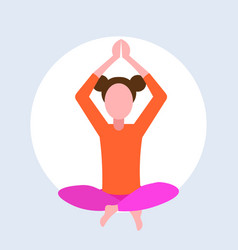 casual woman sitting lotus pose young girl doing vector image