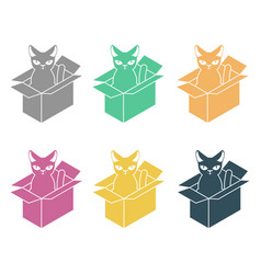 cat in box set pet in cardboard box vector image