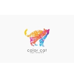 Cat logo Color cat logo Creative logo design vector image