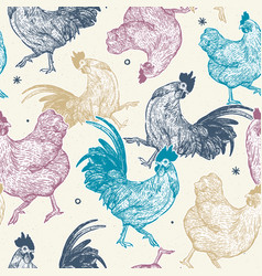 chicken collection seamless pattern hand draw vector image