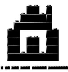 Children plastic bricks toy house silhouette vector