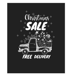 Christmas sale with pickup and pine tree vector