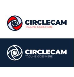 circle camera eye logo design template cctv video vector image