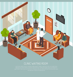 Clinic waiting room isometric vector