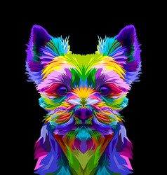 colorful yorkshire terrier dog on pop art style vector image