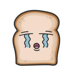 Crying slice bread cartoon vector