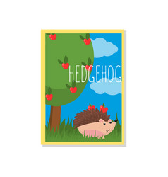 cute hedgehog with apples with vector image