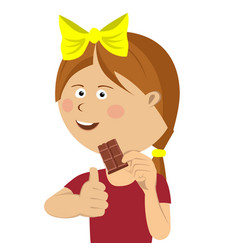 cute little girl eating chocolate giving thumbs up vector image