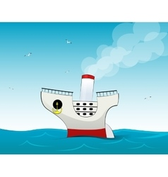 Cute small cartoon cruise liner vector