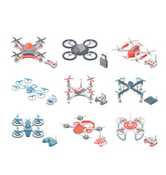Drone flying items icons set vector