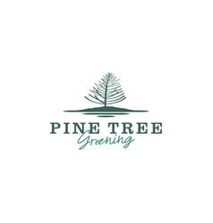 Environmental logo planting pine tree seedlings vector