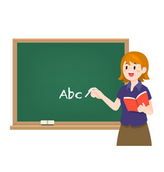 female teacher on lesson with chalkboard vector image