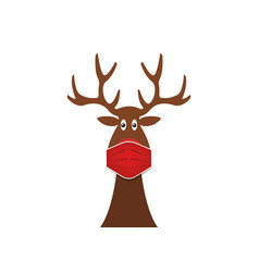 festive christmas reindeer wearing face mask vector image