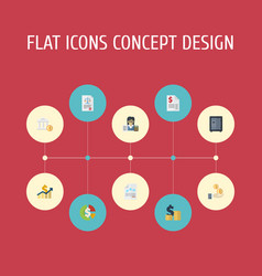 Flat icons safe act paper and other vector