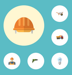 Flat icons van bulb handcart elements vector
