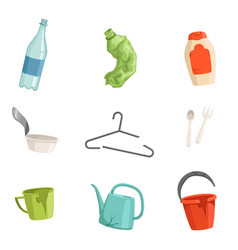 Flat set of plastic waste bottles fork vector