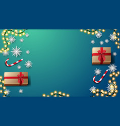 gifts candys cane paper snowflakes and garland on vector image