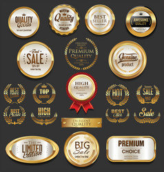 Golden badges and labels collection 4 vector