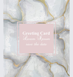 Greeting card golden gray marble background vector