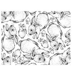 Hand drawn background autumn bunnies vector
