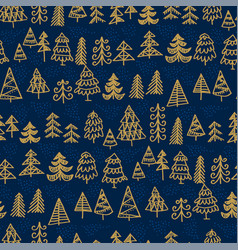 hand-drawn decorative christmas trees pattern vector image