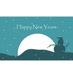 Happy New Years with snowman scenery vector