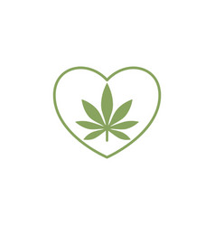 heart symbol with cannabis leaf inside marijuana vector image