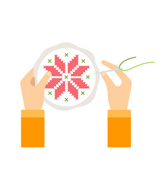 human hands with embroidery flat isolated vector image