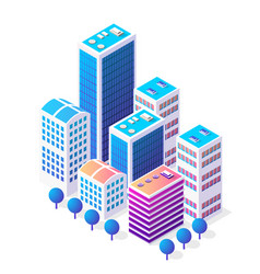 Isometric 3d icon city urban area with a lot of vector