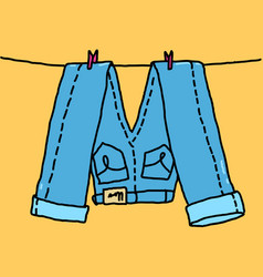 Jeans hang on a rope vector