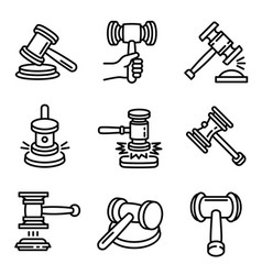 judge hammer icon set outline style vector image