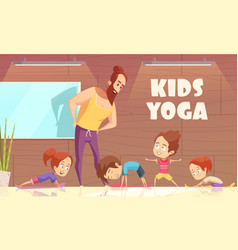 Kids yoga training vector
