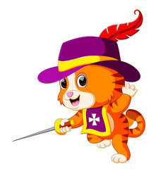 Kitten musketeer with sword vector
