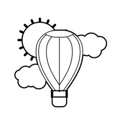 Line air balloon in the sky with clouds and sun vector