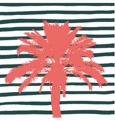 living coral palm tree and hand drawn stripes vector image