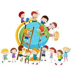 Lots of children around the globe vector