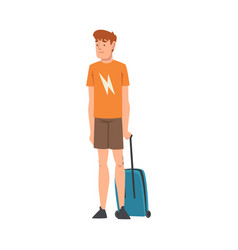 male tourist standing with suitcase guy traveling vector image