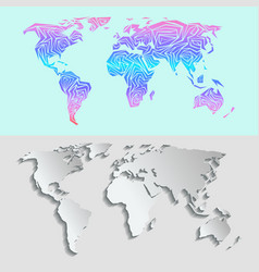 maps globe earth contour outline silhouette world vector image