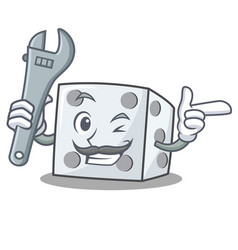 Mechanic dice character cartoon style vector