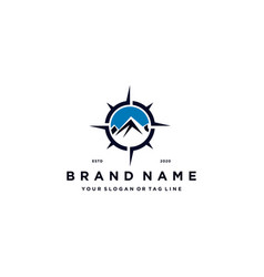 Mountain compass logo design concept vector