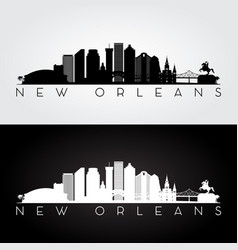 new orleans usa skyline and landmarks silhouette vector image