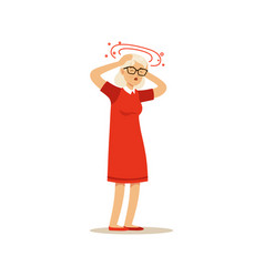 Old female character feeling vertigo migraine vector