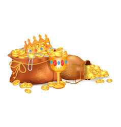 old sacks stuffed with gold coins and jewelry vector image