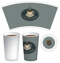 Paper cup template for hot drink with coffee cup vector