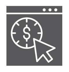 pay per click glyph icon seo and money pointer vector image