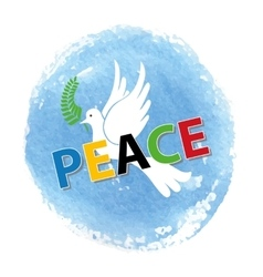 Peace dayWhite pigeonwatercolor blue sky vector