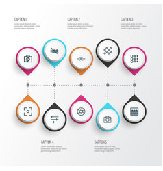 Photo icons line style set with photographing vector