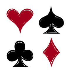 Playing card suits icon symbol set hand drawing vector