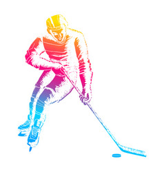 pop art of a hockey player vector image